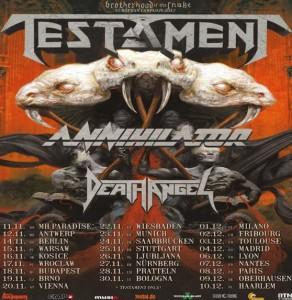 Testament Annihilator e Death Angel 2017 tour